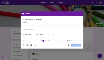 Tutorial to create a question in Google Classroom™  www.traceeorman.com