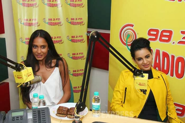 Queen Kangana in yellow jacket at 98.3 FM Radio station to promote her movie