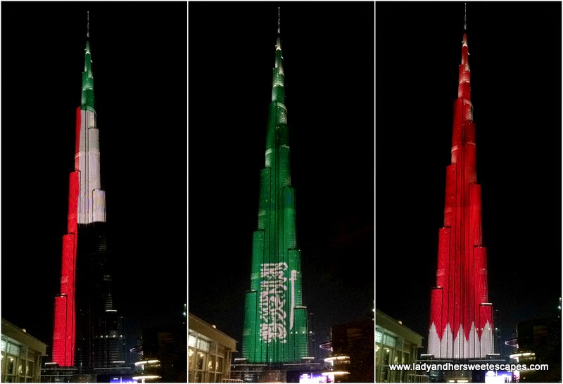 GCC flags in Burj Khalifa LED show 1