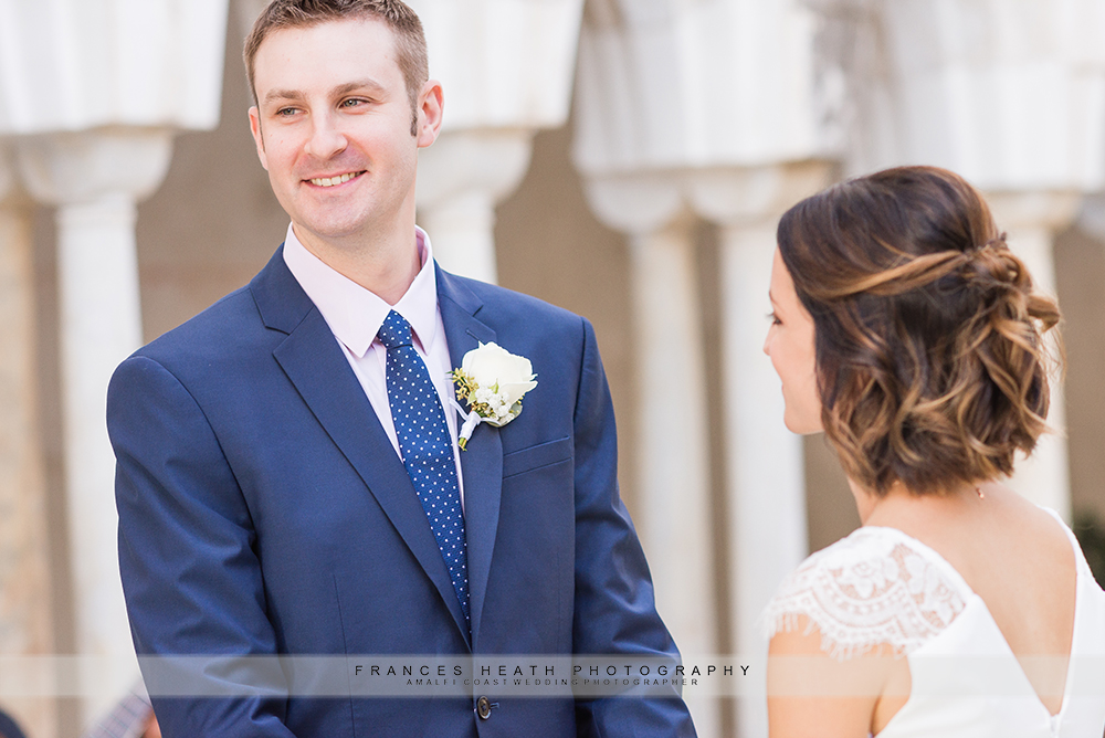 Groom during wedding ceremony in Amalfi