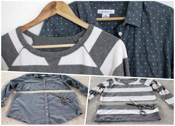 crear una prenda de dos, transformar dos prendas en una, bricomoda