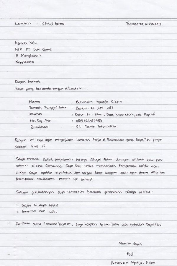 Contoh Format Surat Lamaran Kerja Pabrik