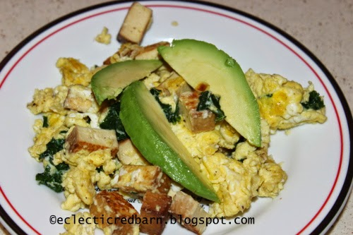 Eclectic Red Barn: Eggs with tofu, kale and avocado
