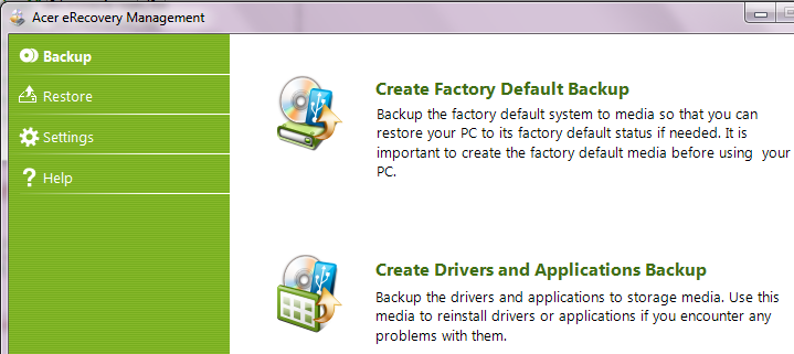 how to restore acer aspire 5742 to factory settings
