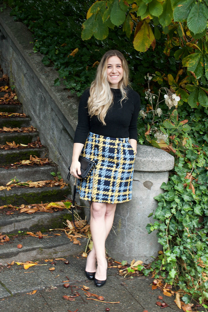Black Cashmere Sweater, Tweed plaid Skirt, Office Outfit, Peplums and Pie
