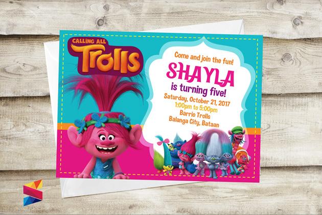 Trolls Themed Birthday Invitations