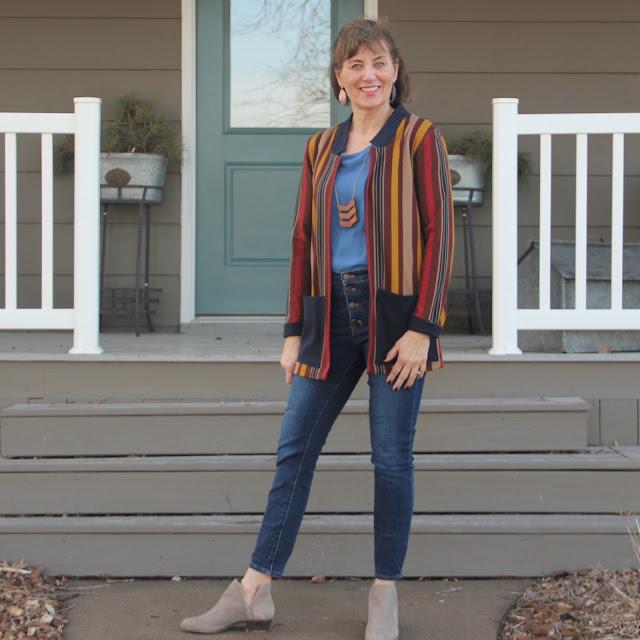 Fulton Sweater Blazer made with Mood Fabrics' stripe jersey
