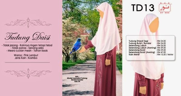 warna pink lembut tudung nur muslimah labuh