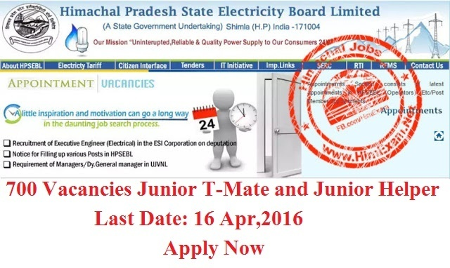 HPSEB 700 Posts for Junior T-Mate and Junior Helper-Apply Now-Last Date 16 Apr 2016