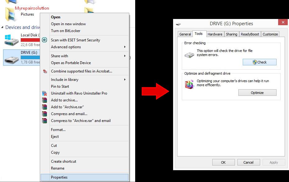 tahapan error checking windows tool