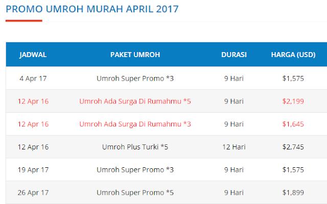 jadwal paket umroh april 2017