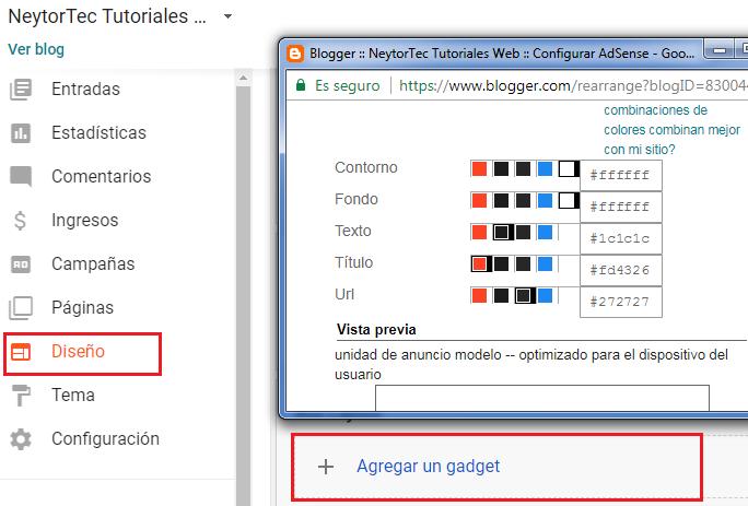 configurar adsense blogger
