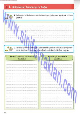 Top Yayınları 8. Sınıf İnkılap Tarihi Çalışma Kitabı Cevapları Sayfa 46