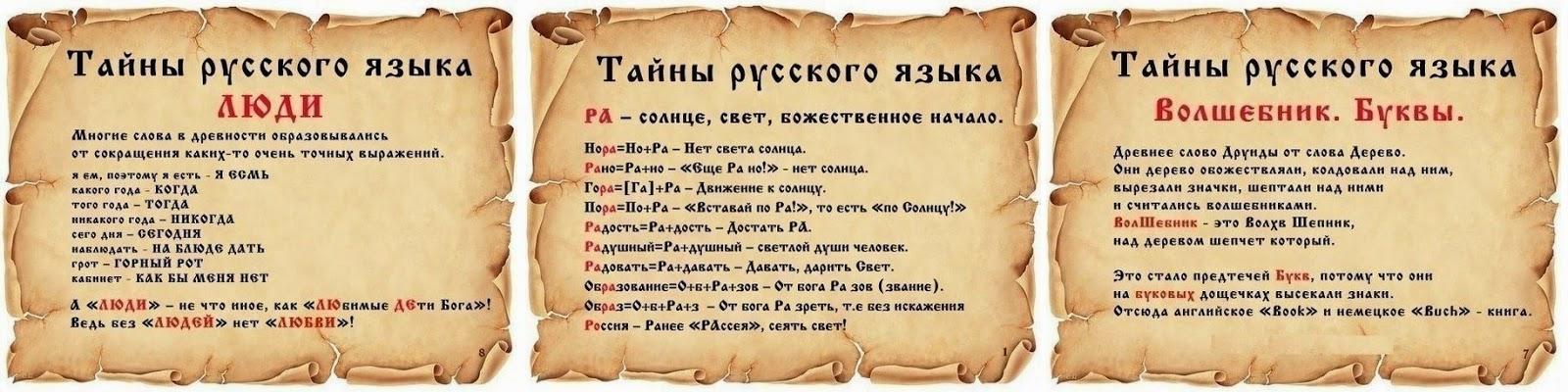 русский язык происхождение слов