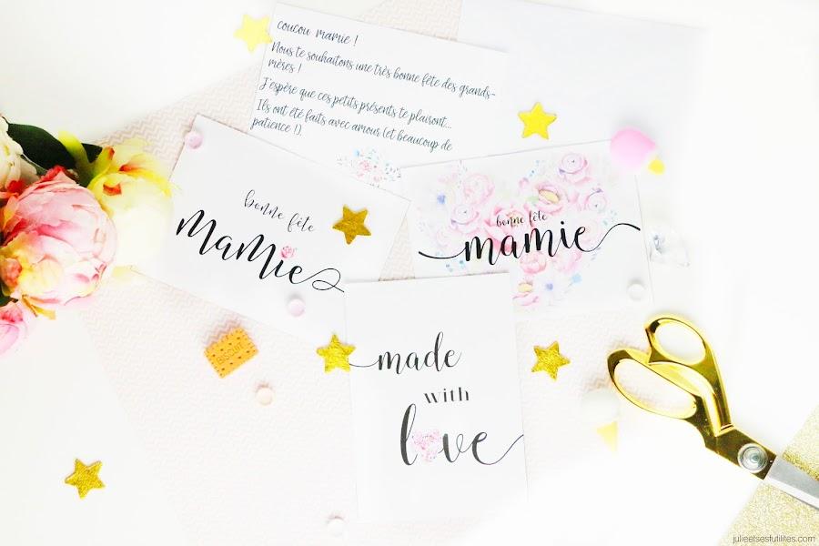 DIY 3 idées cadeaux faits maison pour la fête des grands-mères carte postale modèle fleurie