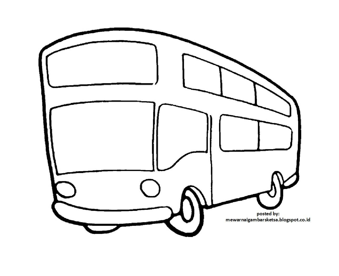 Mewarnai Gambar Mewarnai Gambar Sketsa Bus 1