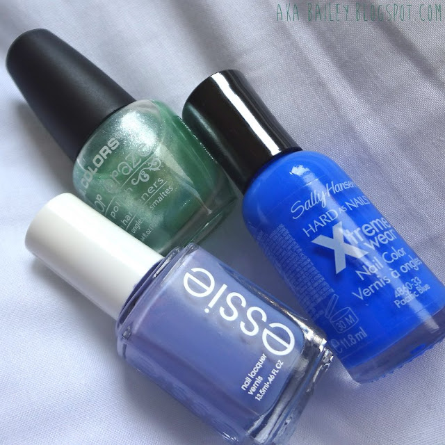 Essie Lapiz of Luxury, Sally Hansen Pacific Blue, nail polish, bright blue