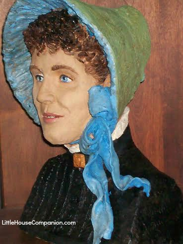 Sculpture of Laura Ingalls Wilder on her wedding day.