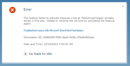 Error: The feature failed to activate because a list at 'PublishingImages' already exists in this site