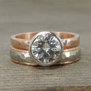 moissanite rose white gold stackable