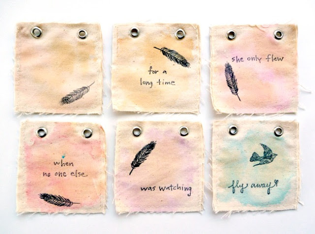 Tea Dyed Stamped Canvas Mini Album Pages by Dana Tatar for Paper Wings Productions