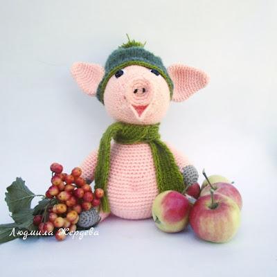 Вязаная игрушка свинка крючком