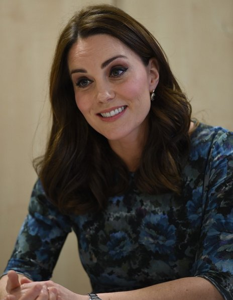 Kate Middleton wore HOBBS London Gianna coat and wore Seraphine Florrie Floral Print Maternity Dress, Jimmy Choo Georgia pumps, sapphire and diamond earrings at Place2Be event