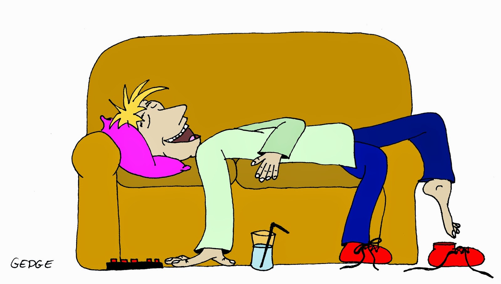 Cartoon of happy man relaxing on a sofa