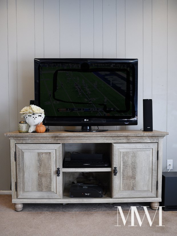 The Better Homes and Gardens Crossmill TV Stand from Walmart is beautiful and looks like a Restoration Hardware quality piece for a fraction of the price. The TV stand is taller than the norm for optimal TV viewing, plus features plenty of hidden storage.