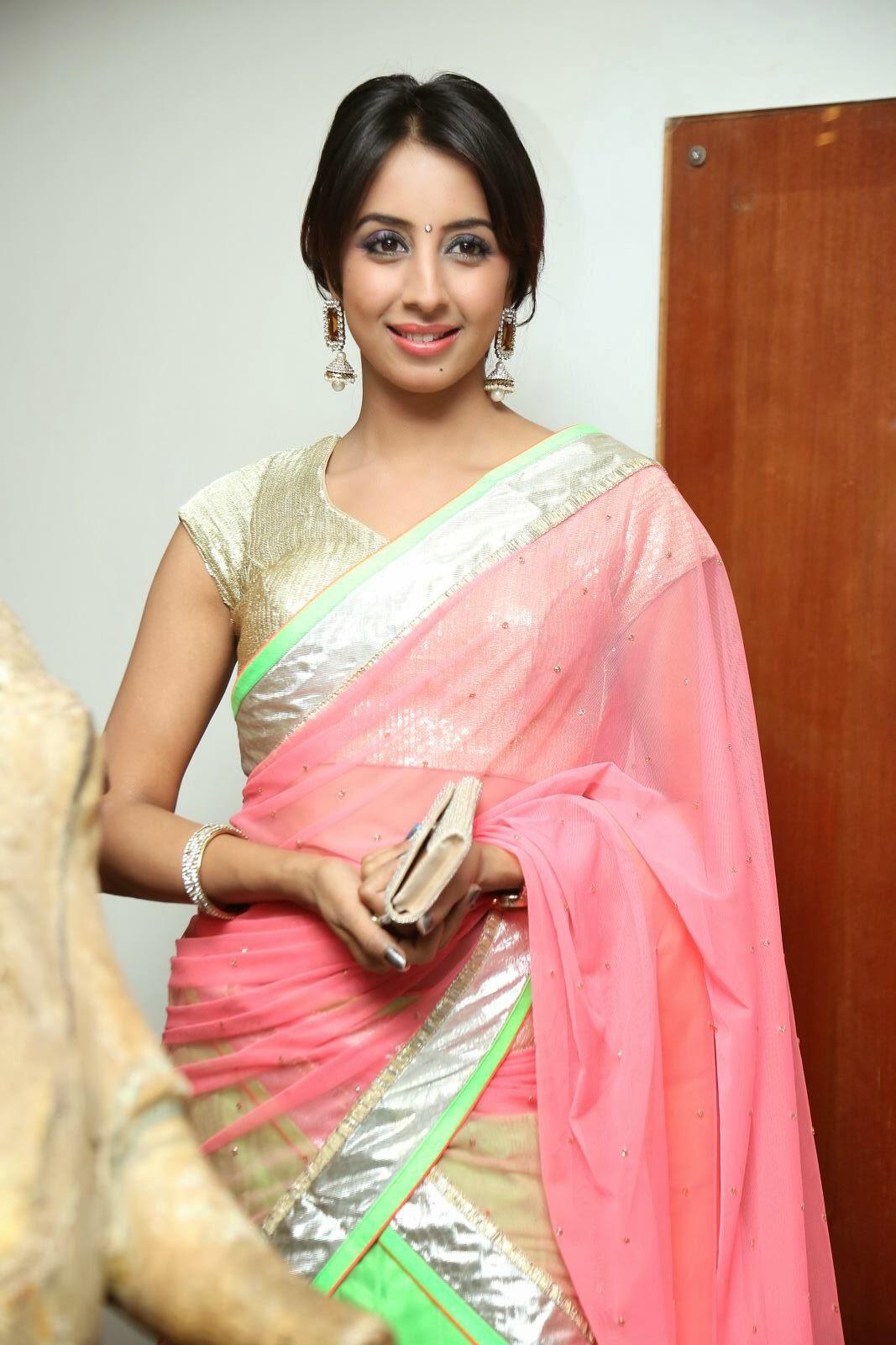 Saree World: South Indian Spicy Actress Sanjana Latest Saree Images At