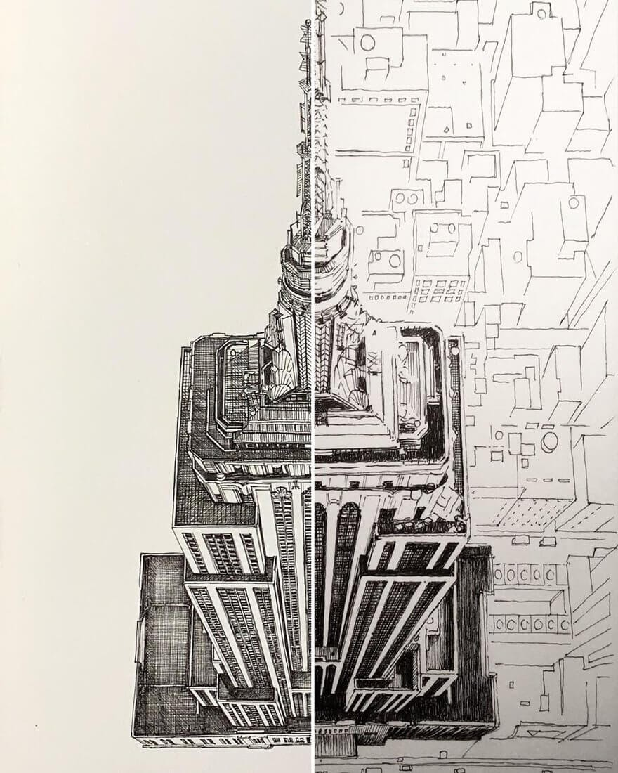 07-Empire-State-Building-New-York-MISTER-VI-Architectural-Drawings-From-Around-the-World-www-designstack-co