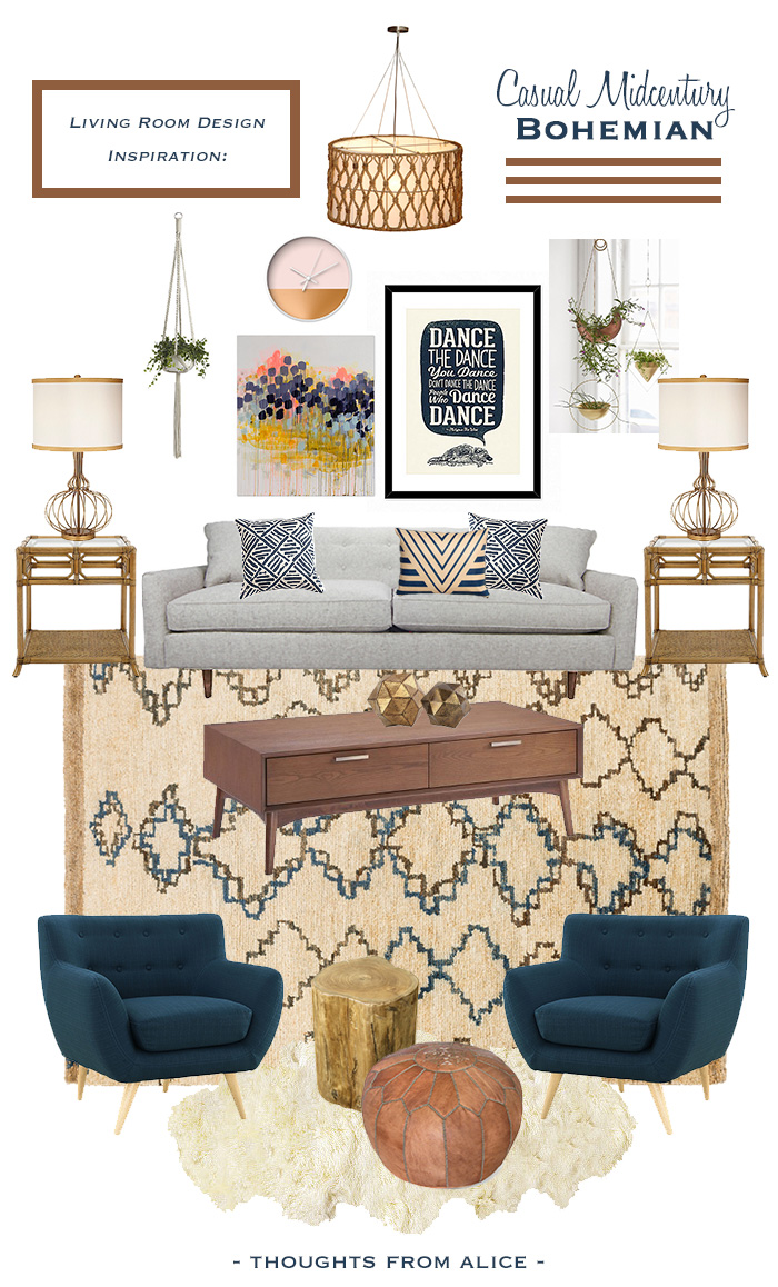 Casual Midcentury Bohemian Living Room Design Inspiration Alice Wingerden