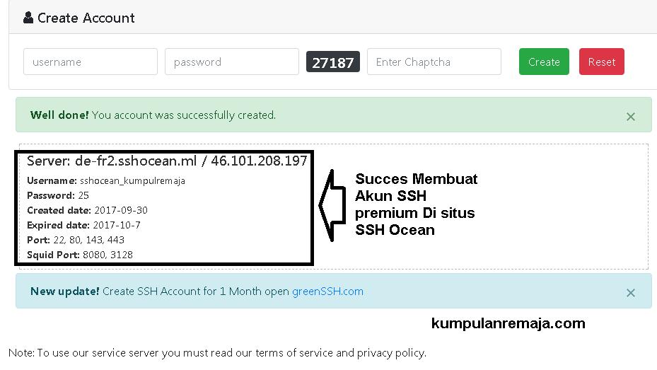 Membuat Akun SSH Premuim di Situs SSHOcean secara Gratis Full Speed