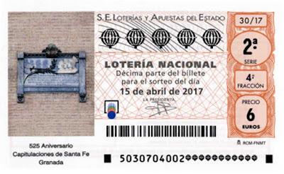 décimos del sorteo de lotería nacional del sábado 15 de abril de 2017