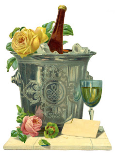 Vintage image of decorative metal ice bucket with a bottle of champagne in it and a glass of campaign on the side.  All of this sitting on a wooden cutting board with roses placed decoratively.