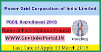 Power Grid Corporation of India Limited Recruitment 2018– 44 Diploma Trainee & Junior Officer