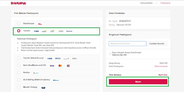 Cara melakukan pembayaran di situs bukalapak transfer via ATM