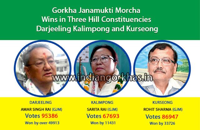 GJM candidates Amar Rai won from Darjeeling, Dr Rohit Sharma won from Kurseong and Sarita Rai from Kalimpong.