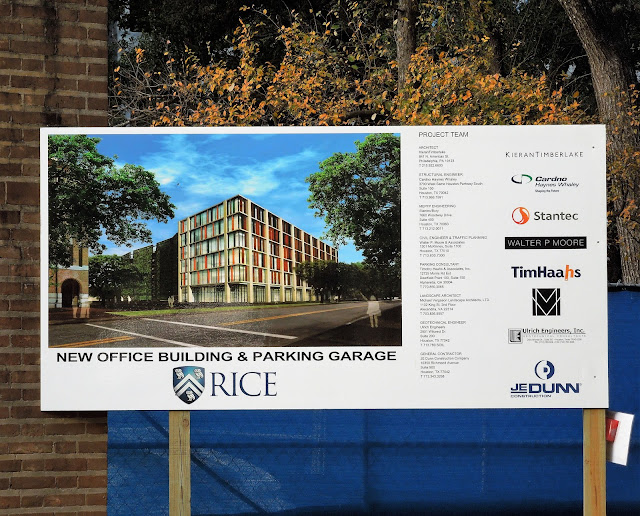 Rice University: New Office Building and Parking Garage (project sign)