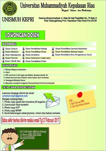 Lowongan Kerja Universitas Muhammadiyah Kepulauan Riau