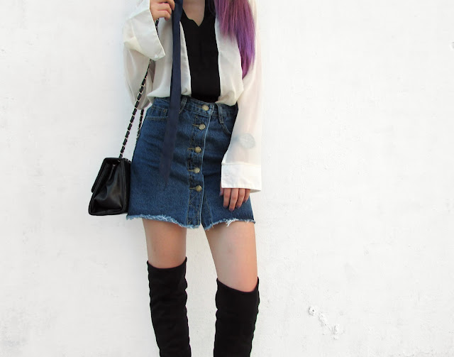denim skirt outfit ideas minimal