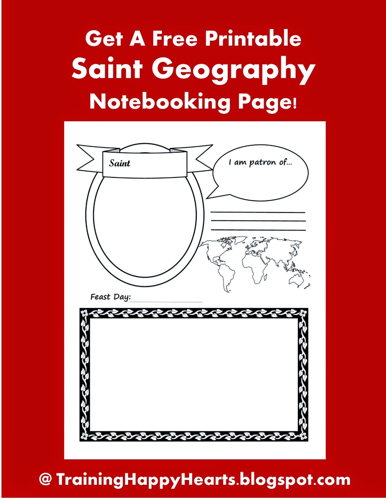 Training Happy Hearts Get A Free Printable Saint Geography Notebooking Page