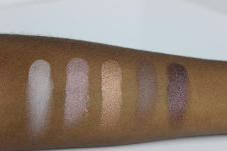 """Saturday Sunsets"" palette swatches on brown skin."
