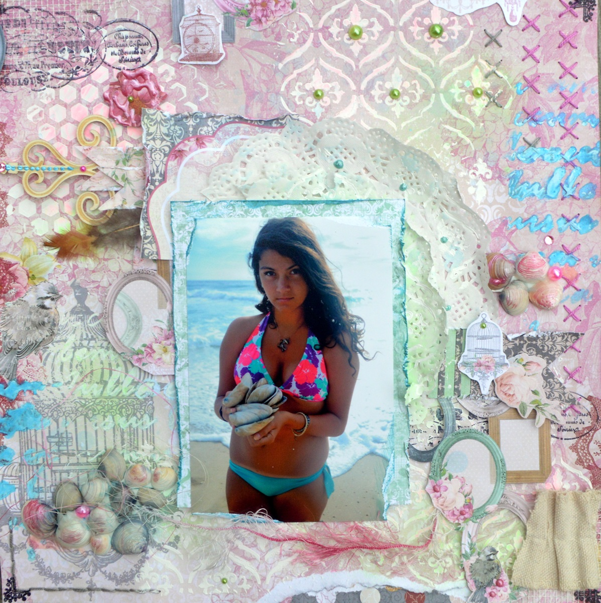 Shells Scrapbook Page by Agnieszka Bellaidea using BoBunny Madeleine Collection