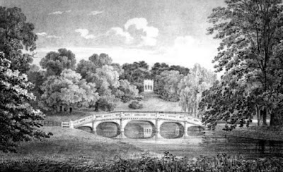View of bridge and Gothic Temple at Pains Hill  from Select Illustrations of the County of Surrey by Prosser (1828)