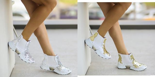 Adidasi dama online ieftini aurii, argintii cu alb la moda