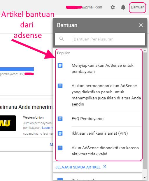 fungsi menu bantuan adsense