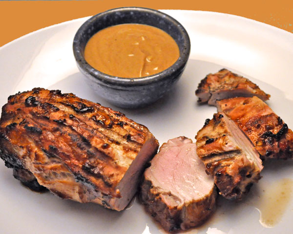 Featured Recipe | Grilled Asian Pork Tenderloin with Peanut Sauce from Thyme For Cooking #SecretRecipeClub #recipe #pork #asian