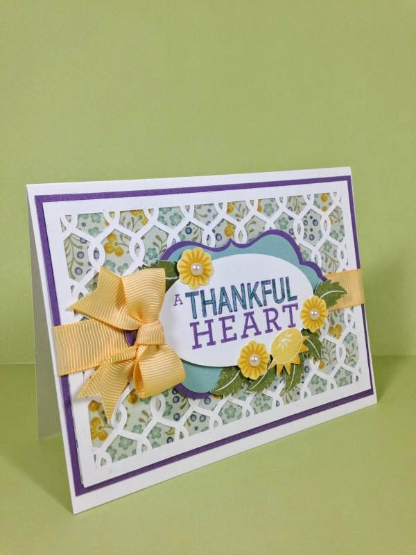 Close To My Heart Artfully Sent Cricut Cartridge Thankful Heart card sideview
