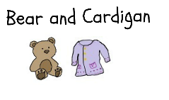 Bear and Cardigan. Drawing of a teddybear and a cardigan